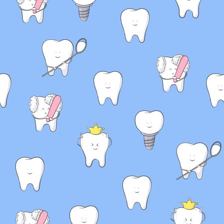 Vector illustration of teeth on blue background seamless