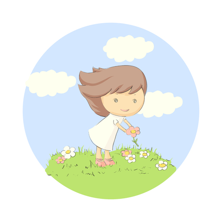 Vector illustration of child playing in the meadow
