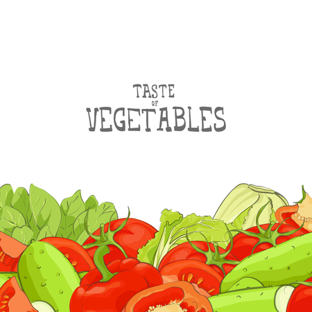 Fresh vegetable vector illustration with place for text Ilustrace