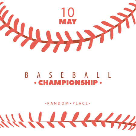 vector illustration of baseball competition poster with red stitching