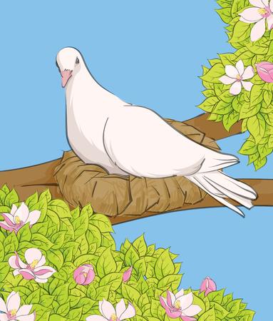 vector illustration of white bird in the nest