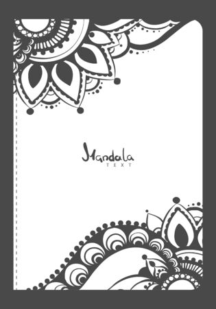 Vector illustration of notebook template with mehndi pattern