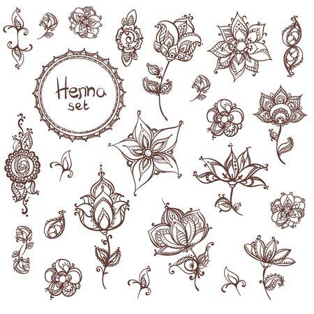 vector illustration of mehndi flowers template Foto de archivo - 129973555