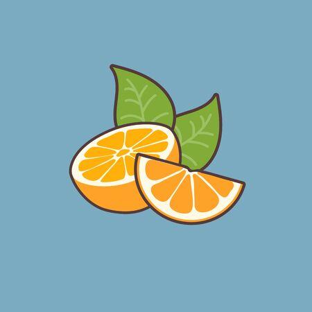 Vector illustration of tasty fresh oranges on blue background