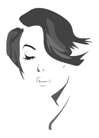Artistic illustration of a beautiful woman with a stylish haircut