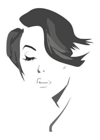 mujer: Ilustraci�n art�stica de una hermosa mujer con un corte de pelo estilo Vectores