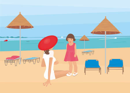 Illustration of a beautiful woman with a child on a beach holiday by the sea Vector