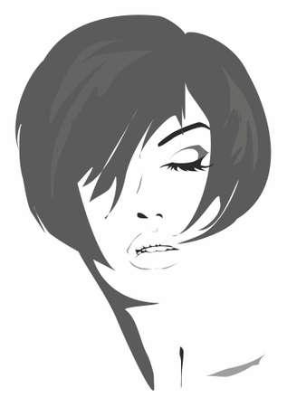 taglio capelli: Illustrazione artistica di una donna con un taglio di capelli alla moda