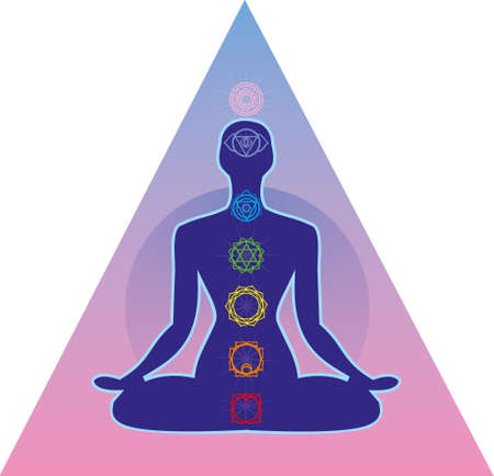 seated: illustration depicting the silhouette of a person seated in the lotus position with seven chakras