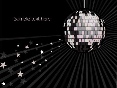 3d dance: shiny silver disco ball with rays and stars on a black background
