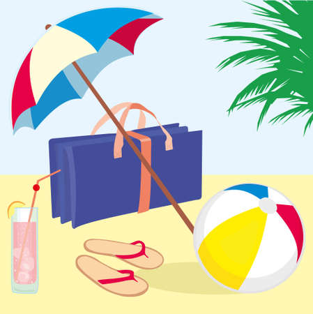 beach mat: summer vacation beach with flip flops, beach ball, cocktail, beach umbrella and foldingbeach mat Illustration