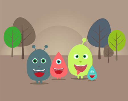 creative funny illustration with aliens and monsters for your design Vector