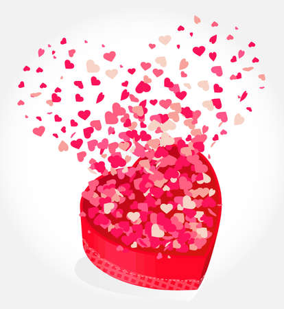 heart gift present with fly hearts valentine Vector