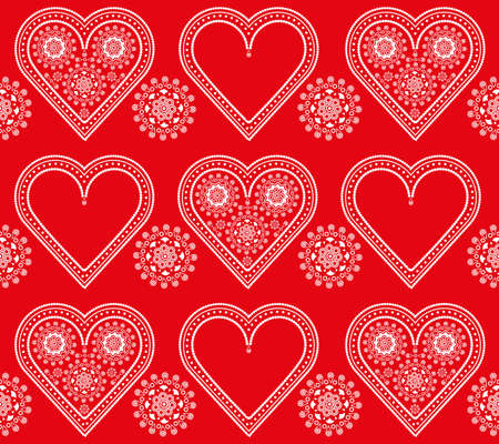 seamless red and white valentine ornament pattern with lacy hearts Vector