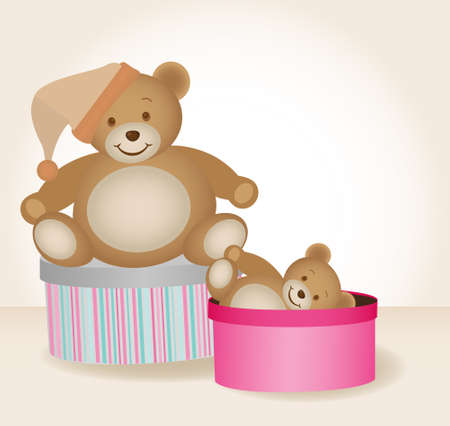 osos de peluche: dos osos de peluche lindos en cajas de regalo aislados Vectores