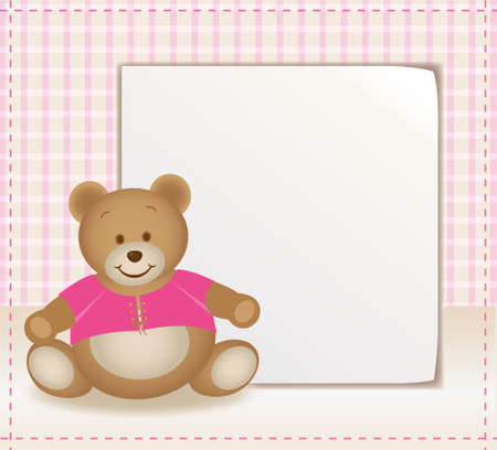 pink template with little teddy bear Vector