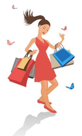 woman slim: illustrazione di una bella ragazza dello shopping con borse isolata on white