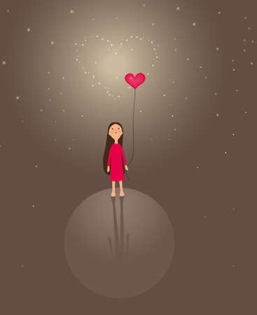 red balloons: background with cute little girl for valentine