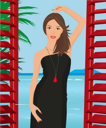 illustration of a beautiful young girl in a little black dress standing on the balcony of the hotel overlooking the sea Vector