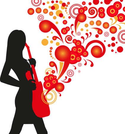 rockstar: illustratie van een meisje met een gestileerde akoestische gitaar op abstracte rode achtergrond