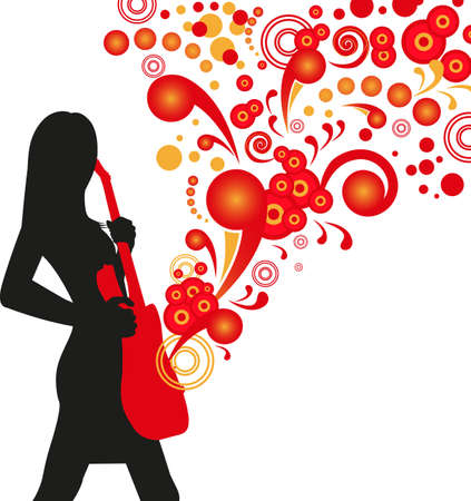 illustration of a girl with an stylized acoustic gitar on abstract red background Vector