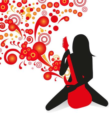 rockstar: silhouet van meisje spelen op het podium op een rode gitaar op abstracte achtergrond