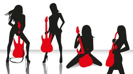rockstar: verzameling van elegante silhouetten van meisjes met rode gitaar geïsoleerde Stock Illustratie