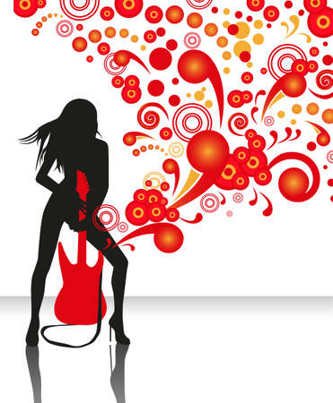 guitarist: abstract background with a silhouette of a woman with a red guitar