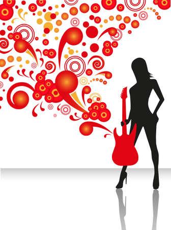 rockstar: sierlijke silhouet van de slanke vrouw met een elektrische gitaar Stock Illustratie