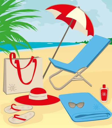 chaise longue: beach stuff on sand illustration