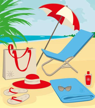 strandstoel: strand spullen op zand illustratie Stock Illustratie