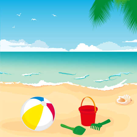 illustration of colorful toys lying on the sand by the sea Vector