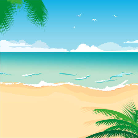 여름 디자인의 열대 바다 해변의 그림