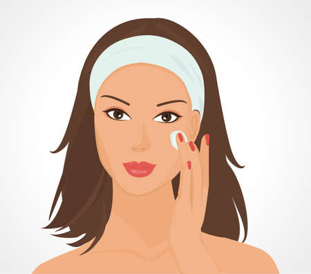 illustration of a beautiful girl causing the cream to the face  Stock Vector - 10237003