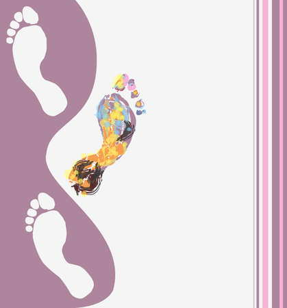 multi cultural: abstract illustration multicolored footprints for your design
