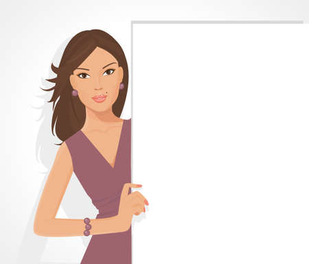 avatar: illustration of posing girl girl holding a sign for your information and design Illustration
