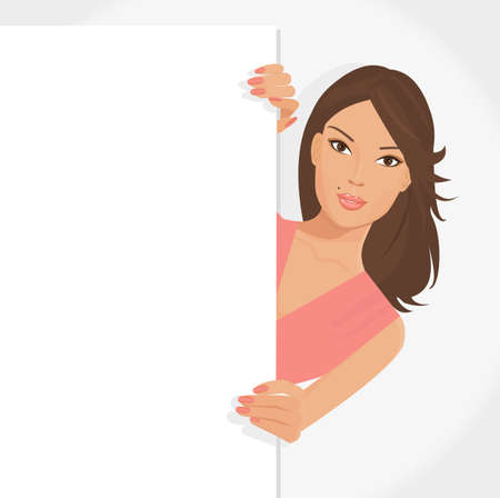 illustration of posing girl with white poster for your information and design Stock Vector - 10284879