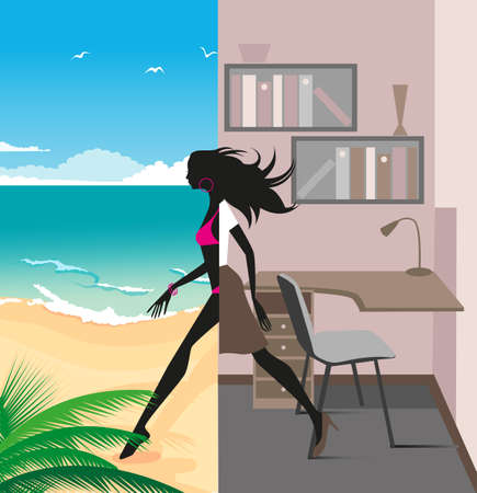 busy office: illustration of a graceful girl was leaving the office and traveling to the beach