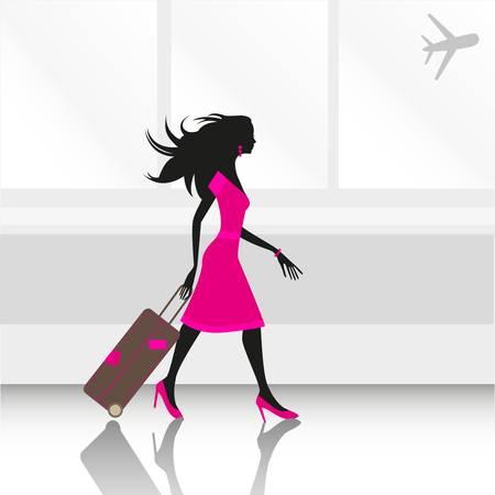 billets d avion: illustration d'une jeune femme mince voyager � travers l'a�roport avec une valise Illustration