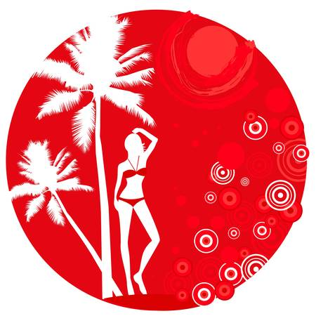 abstract tropical background with silhouette of slim woman in bikini Vector