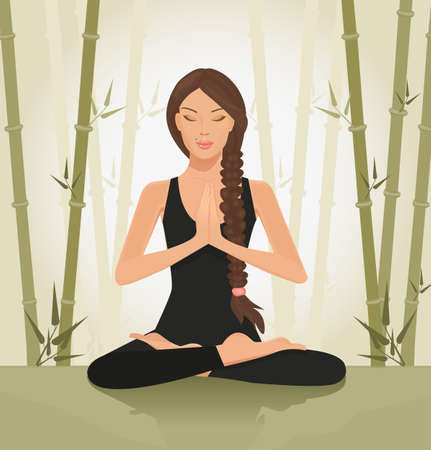 yoga asana tree pose: illustration of a beautiful young woman meditating in yoga lotus position
