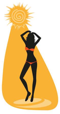 siesta: sagoma di giovane donna prendere il sole in bikini Vettoriali