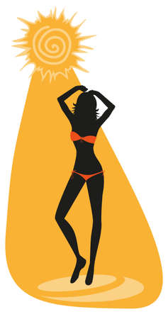 siesta: silhouette of young sunbathe woman in bikini