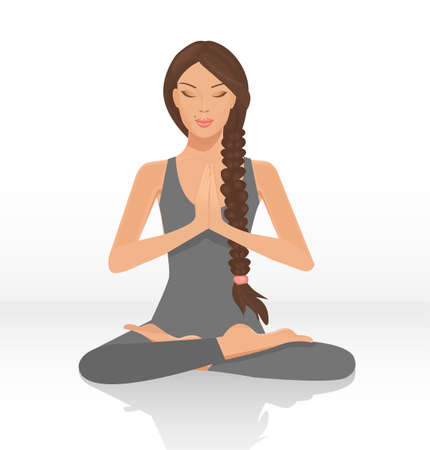 yoga girl: illustration of a beautiful woman sitting in yoga lotus position isolated Illustration