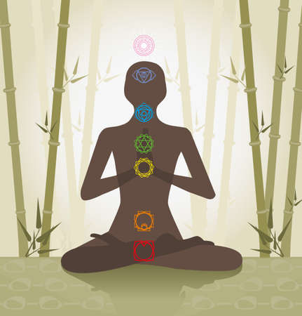 illustration depicting the silhouette of a person seated in the lotus position with seven chakras Vector