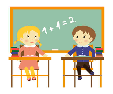 pupil: illustration of two school children in the class with blackboard Illustration