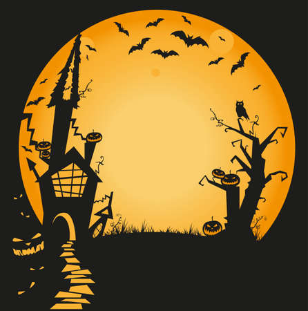 halloween illustration with haunted house, bats, owl and pumpkins Stock Vector - 10439834