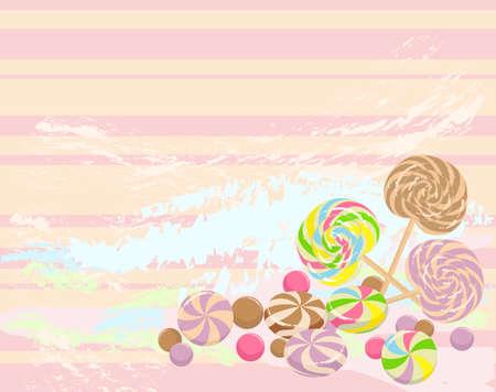 canne a sucre: arri�re-plan color� avec sweet bonbons Illustration