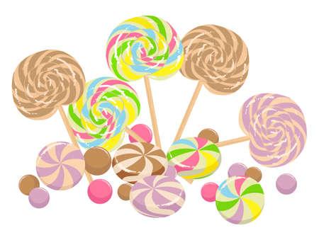 paletas de caramelo: Ilustraci�n colorido con golosinas dulces aislado