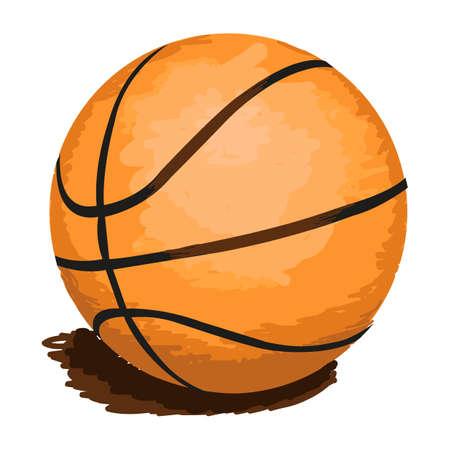 panier basketball: illustration de boule de basket-ball isol� sur blanc pour votre conception
